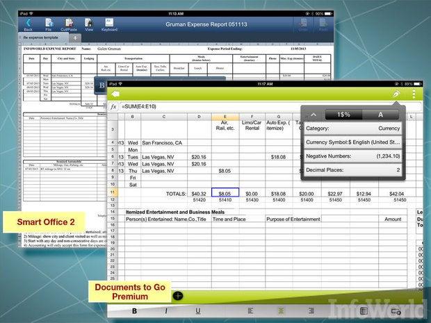 DataViz Documents to Go, Picsel Smart Office 2 spreadsheet