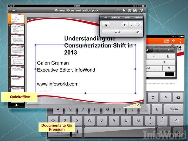 Google Quickoffice, ByteSquared Office2HD, DataViz Documents to Go, Picsel Smart Office 2 presentation