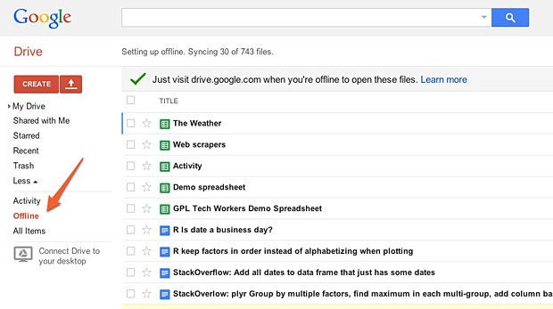 Working offline in Google Sheets