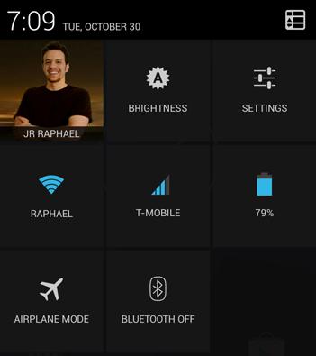 quick settings screen