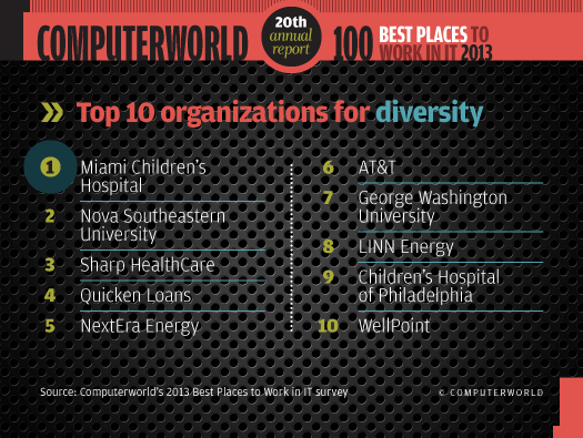 To 10 organizations for diversity