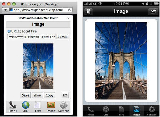 myPhoneDesktop Chrome to iPhone Web client and iOS app