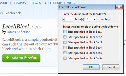 LeechBlock screen shot