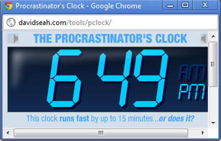 The Procrastinator\'s Clock in action