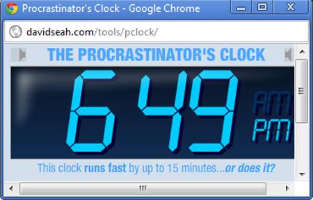 The Procrastinator's Clock in action