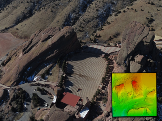 Colorado\'s Red Rocks Amphitheater captured by a Falcon UAV drone