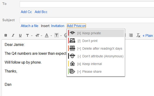 Privicons for Gmail screenshot