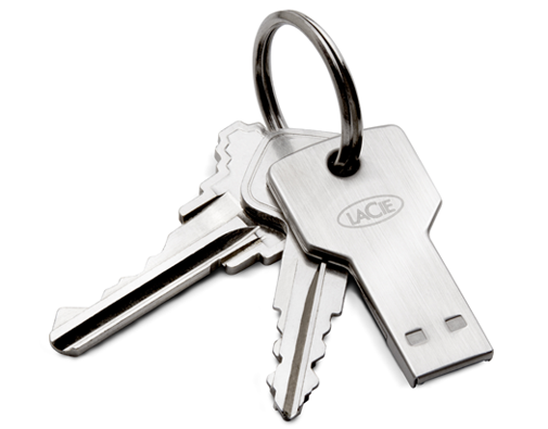 PetiteKey USB flash drive on keychain