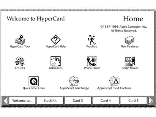 Hypercard home screen