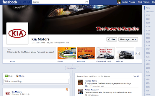 Kia Motors Facebook page