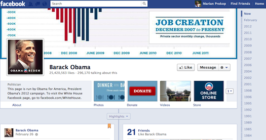 Obama campaign Facebook page