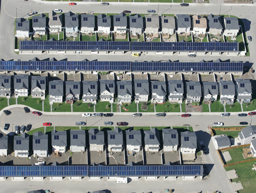Aerial shot of Drake Landing Solar Community