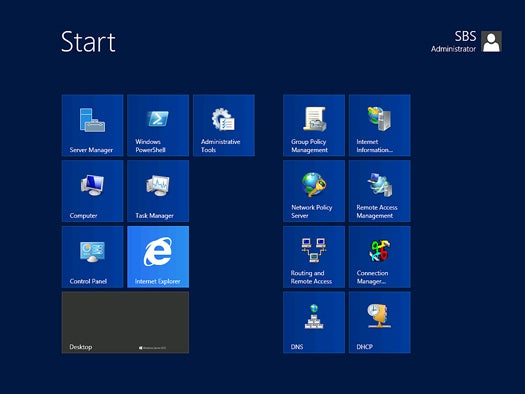 Windows Server 2012 - Start screen