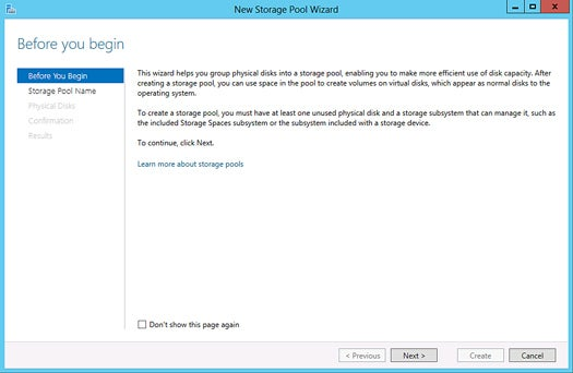 Windows Server 2012 - Storage pools