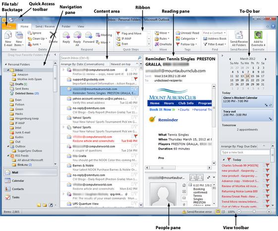 Outlook 2010 main screen