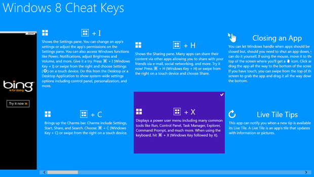 Windows 8 Cheat Keys