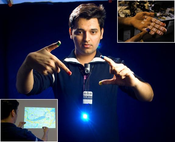 Pranav Mistry wearing Sixth Sense system