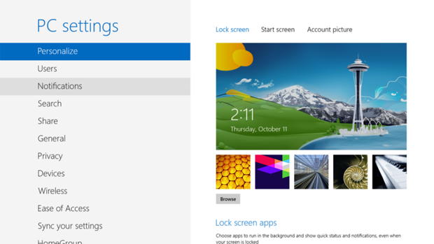 Windows 8 PC settings screen