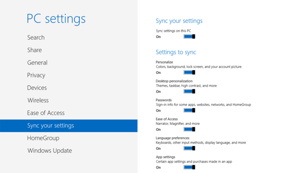 Sync your settings screen