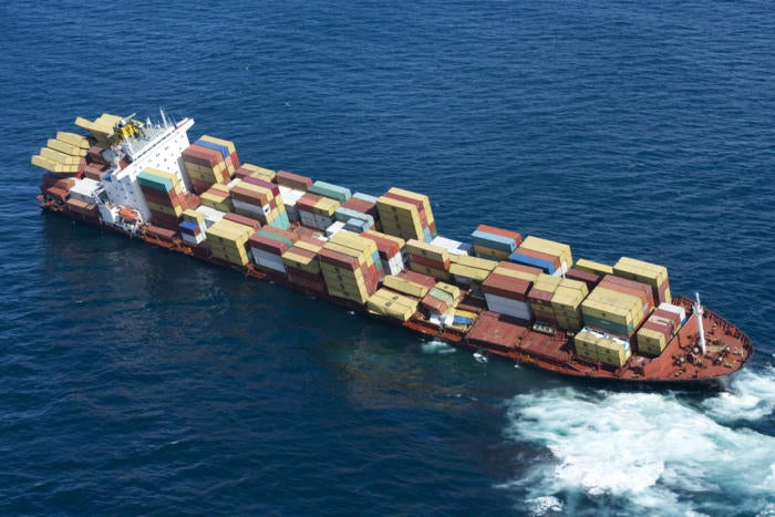 boat ship containers sea ocean