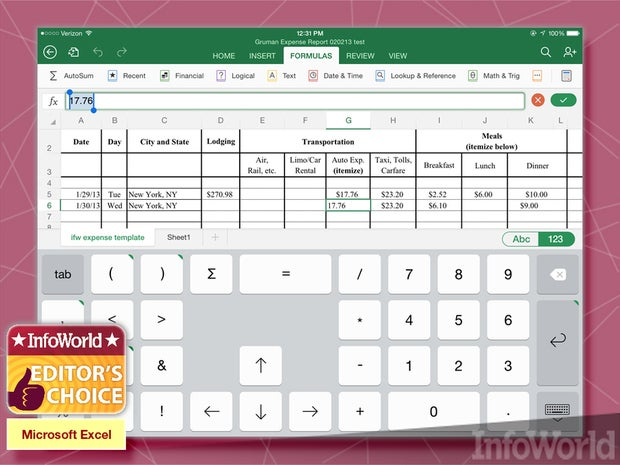 Microsoft Excel for iPad spreadsheet
