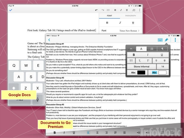 DataViz Documents to Go, Google Docs, Picsel Smart Office 2 word processors