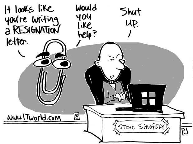 Cartoon showing former Microsoft exec Steven Sinofsky at his laptop. Clippy is behind him saying, 'It looks like you're writing a resignation letter. Would you like help?' Sinofsky says 'Shut up'