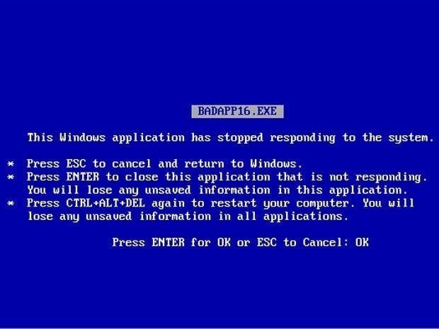 Picture of Microsoft 3.1's CTL+ALT+DEL Blue Screen