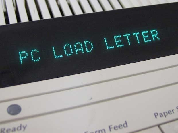 Picture of a printer displaying the PC LOAD LETTER error message