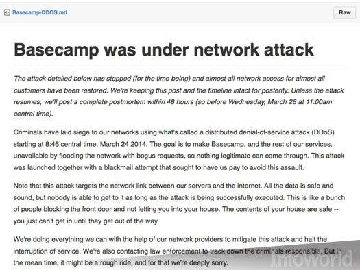 Basecamp gets bumped offline