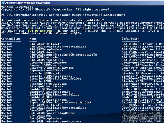 Quest ActiveRoles Management Shell for Active Directory