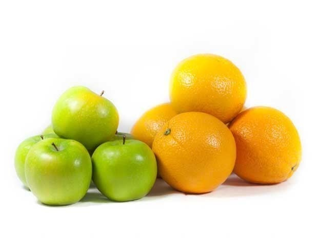 Pictures of apples and oranges