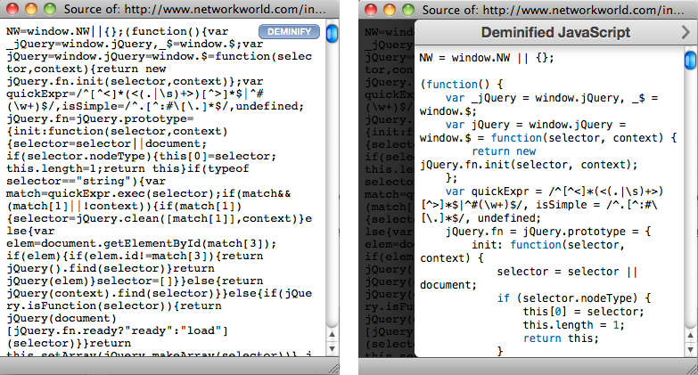 JavaScript Deminifier
