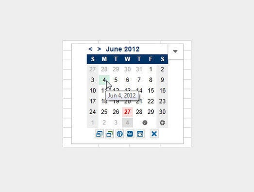Mini Calendar and Date Picker for Excel 2013