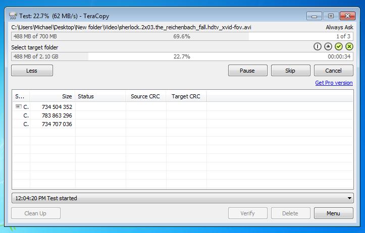 TeraCopy screenshot