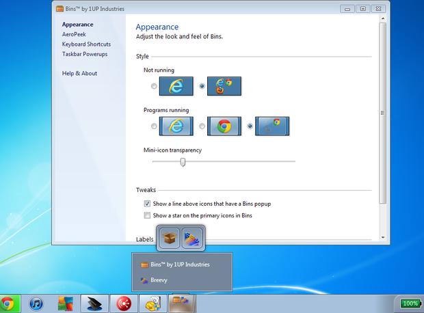 Bins screenshot