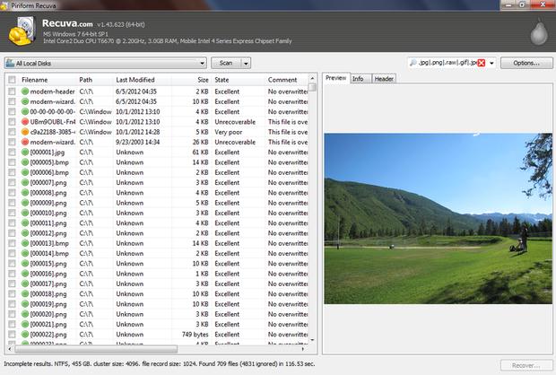 Recuva screenshot