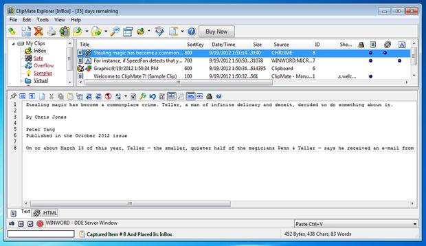 ClipMate screenshot
