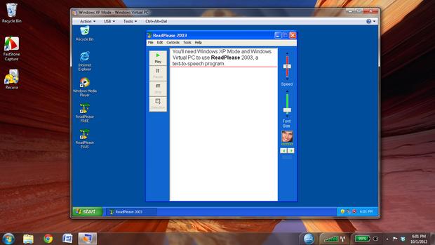 Windows Virtual PC screenshot