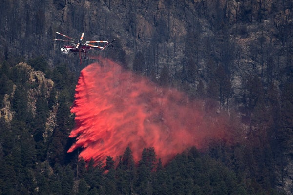 helicopter drops fire retardant rescue emergency