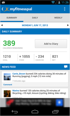 MyFitnessPal app included with devices