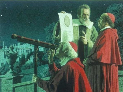 Galileo Galilei demonstrating the telescope to the cardinals