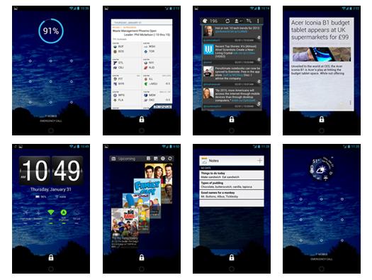 collage of lock screen widget screenshots