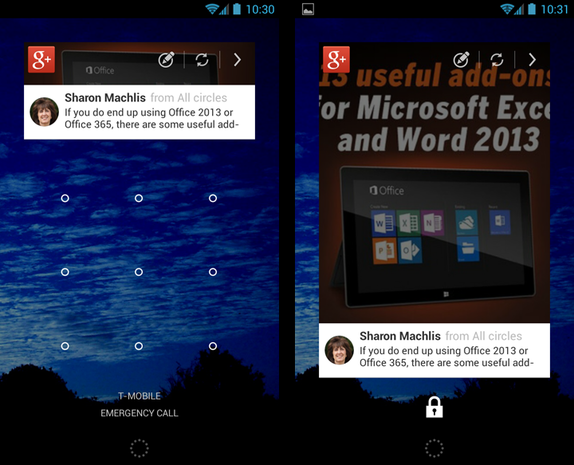 Google+ widget screenshots