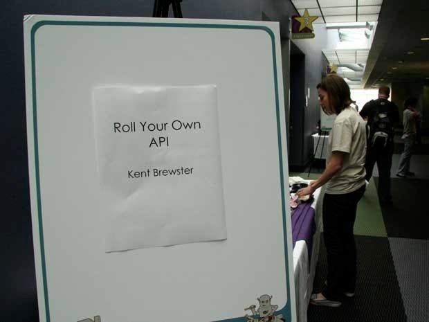 A sign on an easel that says Roll Your Own API