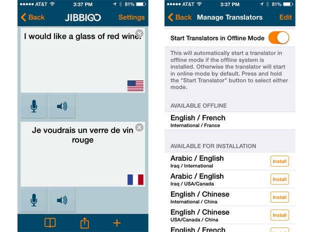 Jibbigo for Language Translation