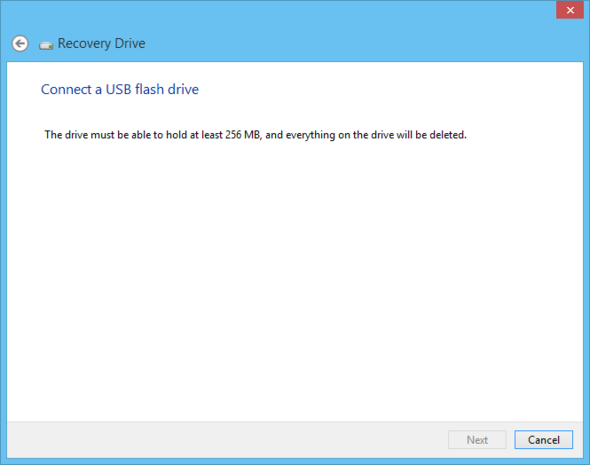 Make a recovery tool on a USB flash drive