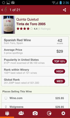 Vivino Wine Scanner (Android, free)