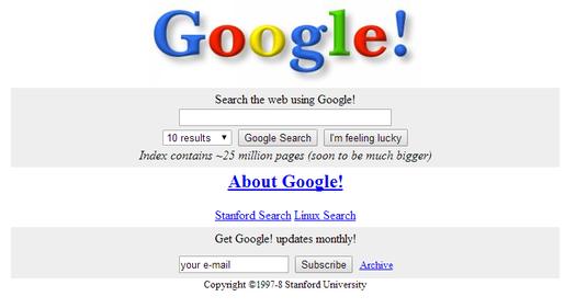 Google.com circa 1998