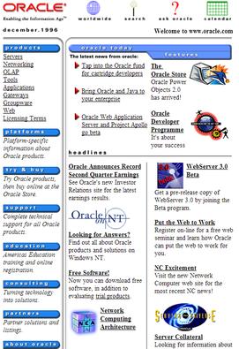 Oracle.com circa 1996